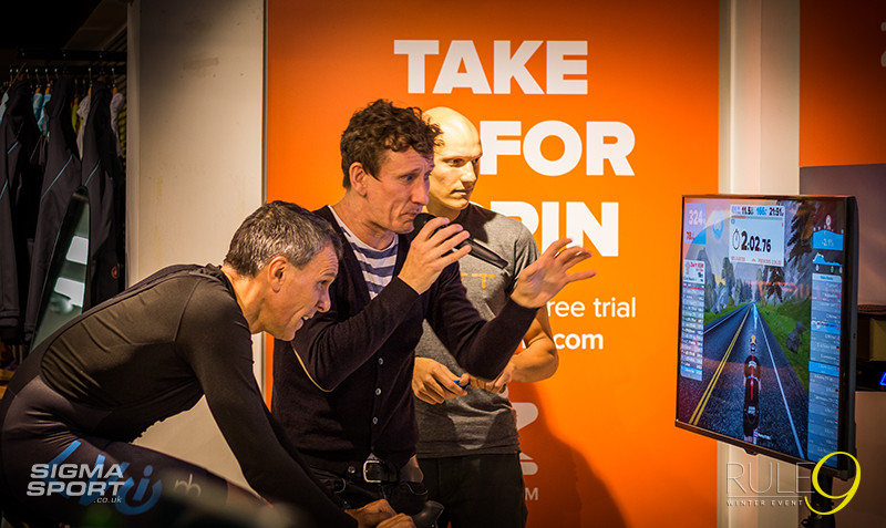 Rule9 Winter Cycling Event 2015 Zwift Wahoo Demo Centre commentating
