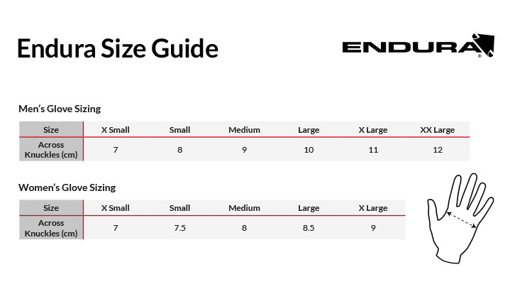 Image result for endura cycling glove size chart