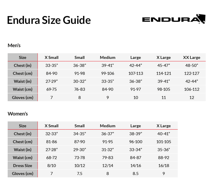 Image result for endura size chart