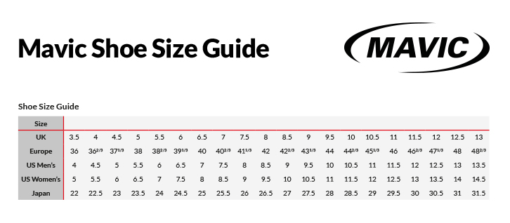 Mavic Mtb Shoes Sizing