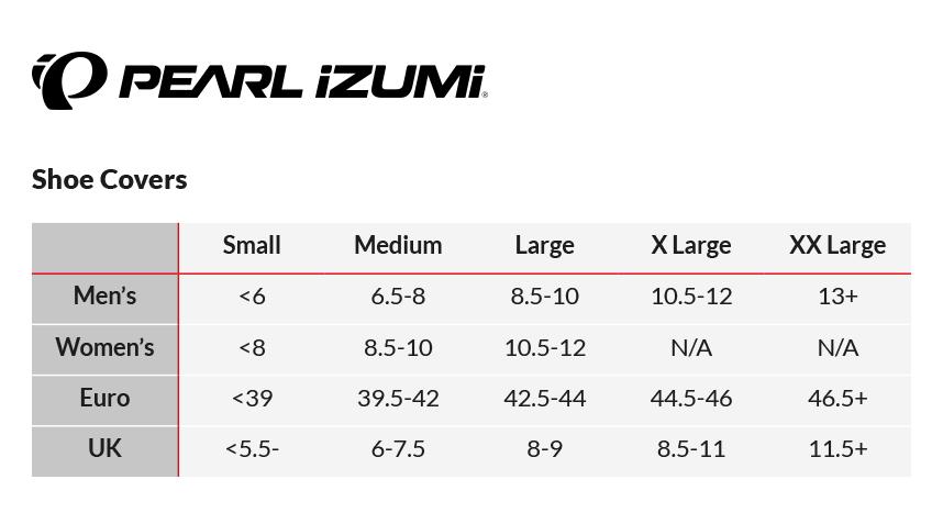 Pearl Izumi Shoe Size Chart